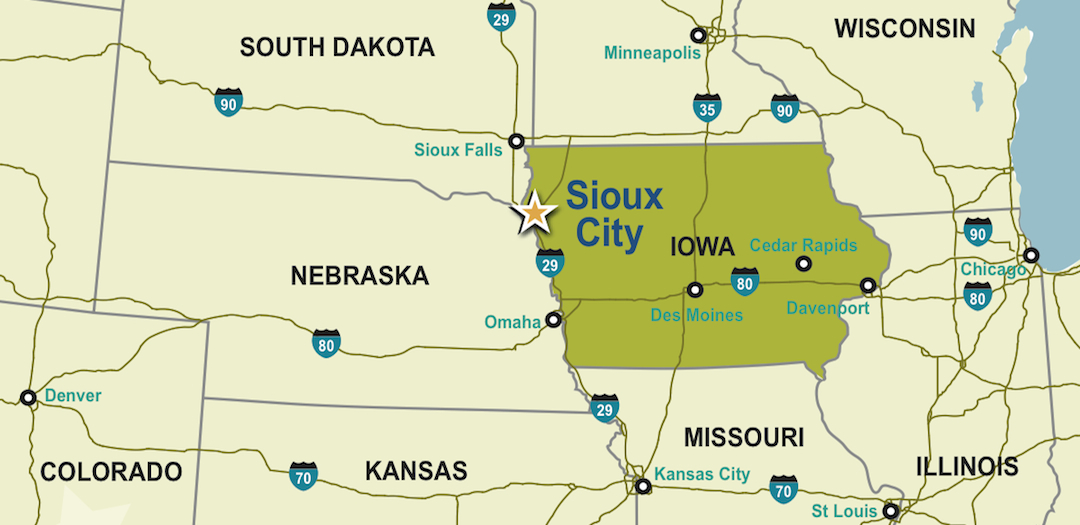 Maps Sioux City Economic Development Department - Iowa on a us map